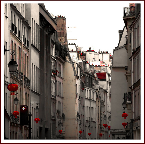 Chinese lanterns dotting Paris's Rue du Temple